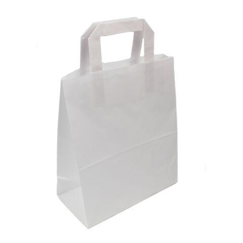 Sac papier kraft anses plates blanc | 18 x 8,5 x 23 cm | sans marquage | sans marquage