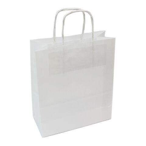 Sac papier kraft anses torsadées blanc | 18 x 21 x 8 cm | sans marquage | sans marquage
