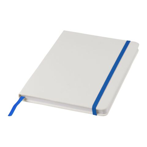 Carnet de notes blanc A5 Spectrum avec élastique de couleur Standard | Blanc-Bleu royal | sans marquage | non disponible | non disponible | non disponible