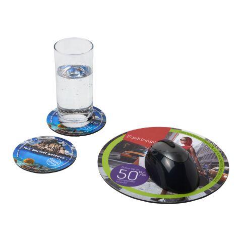 Ensemble de tapis de souris et de dessous de verre Q-Mat® 5 Noir | sans marquage | non disponible | non disponible
