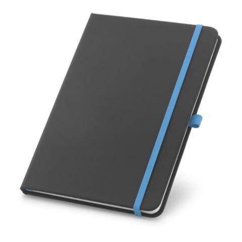 Bloc-notes avec porte-stylo bleu clair | sans marquage