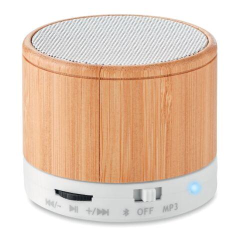 Haut-parleur Bluetooth bambou. blanc | sans marquage | non disponible | non disponible