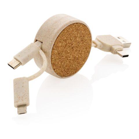Câble rétractable 6 en 1 en liège et fibre de paille marron   sans marquage   non disponible   non disponible