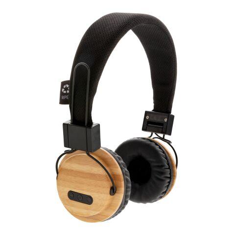 Casque audio sans fil en bambou marron-noir | sans marquage | non disponible | non disponible