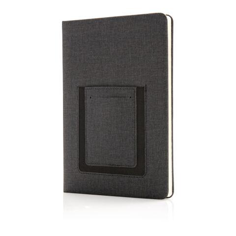 Carnet de notes A5 avec pochette téléphone noir | non disponible | non disponible | non disponible | non disponible