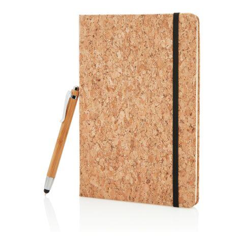 Carnet de notes en liège avec stylo en bambou marron | sans marquage | non disponible | non disponible