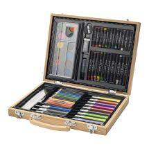 Boîte de 67 crayons, feutres et peinture
